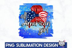 4TH OF JULY Sublimation|All american girl PNG Product Image 1