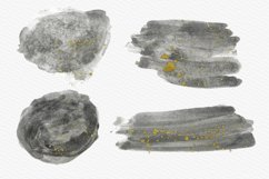 Gray Watercolor Splash with Gold Ink Clipart Product Image 3