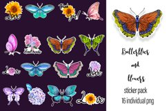 Butterflies and flowers watercolor - sticker pack Product Image 3