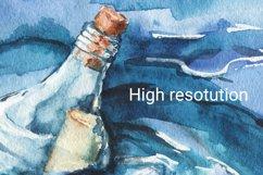 Seascape set of illustrations. Watercolor sea, ship, wave Product Image 5