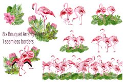 Tropical flamingo clipart - watercolor birds Product Image 2