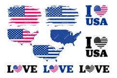 American Flag SVG Bundle, USA Map Flag Layered SVG, Love USA Product Image 3