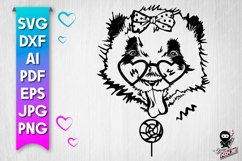 Panda with lollipop cut file. Funny baby animal svg Product Image 1