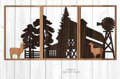 3 Piece Llama Farmhouse Scene SVG Glowforge Laser Files Product Image 1