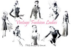 30 Vintage Retro Sewing Fashion Lady PNG Craft Collection by Squeeb Creative 1