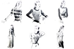 30 Vintage Retro Sewing Fashon Lady PNG Craft Collection by Squeeb Creative 1
