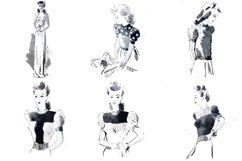 30 Retro Vintage Women Fashion Models Illustrations PNG JPG Product Image 3