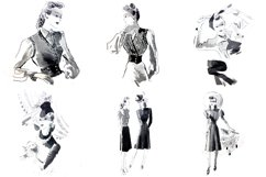 30 Retro Vintage Women Fashion Models Illustrations PNG JPG Product Image 4