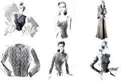 30 Retro Vintage Women Fashion Models Illustrations PNG JPG Product Image 6