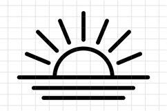 Sunset SVG, sunrise Cut File. Sunburst, Sun and Ocean icon. Product Image 1