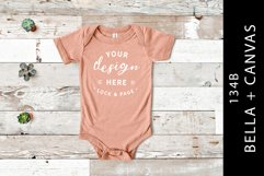 Peach Bella Canvas 134B Baby Romper Suit Mockup One Piece Product Image 1