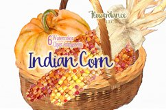 Indian Corn Watercolor Clipart, Rainbow Mix, Bi-Color, Sweet Product Image 2