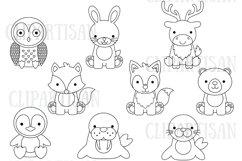 Arctic Animals Clip Art, Polar Bear, Penguin Product Image 1