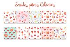 Hand drawn valentines seamless patterns png set Product Image 3