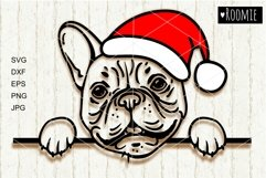 French bulldog in Santa hat svg, Frenchie svg file New year Product Image 1