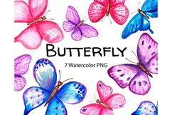 Watercolor butterfly clipart png Product Image 1