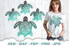Mandala Sea Turtle SVG DXF Cut Files Bundle Product Image 2