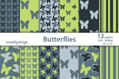Green, gray seamless butterflies digital paper Product Image 1
