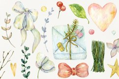 Watercolor cliparts of Christmas elements and flowers Product Image 4