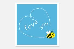 Flying bee. Dash heart in the sky. Love you. Product Image 1