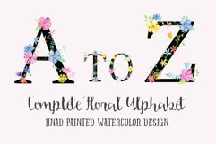 Watercolor floral alphabets with black background Product Image 1