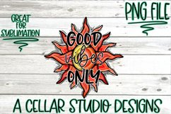Good Vibes Only, Sun and Moon Design, Hand Drawn, PNG File Product Image 4