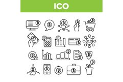 ICO, Bitcoin Vector Thin Line Icons Set Product Image 1