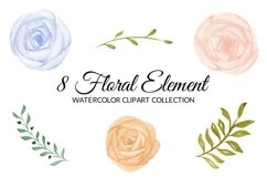 Colorful Rose Flower Watercolor Clipart Collection Product Image 2