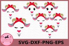 Goat with Bandana svg,Goat Face Svg,Farm Svg, Goat Eyelashes Product Image 1