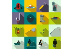 Fishing flat icons set Product Image 1