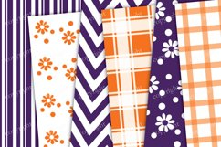 Purple and orange chevron, flowers, stripes seamless pattern Product Image 2