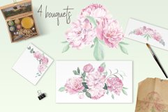 Peonies Clipart Watercolor Set Product Image 2