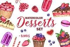 Desserts. Watercolor set. Clipart Product Image 1