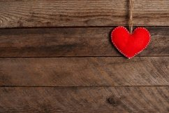 Valentines Day background with red heart. wooden table Product Image 1