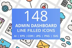 148 Admin Dashboard Filled Line Icons Product Image 1