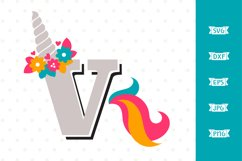 Letter V Unicorn SVG file Product Image 1