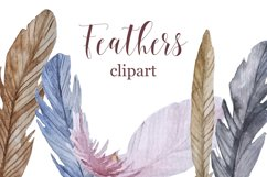 Watercolor feathers clipart Product Image 1