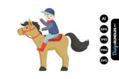 Boys Horse Riding Clipart Product Image 1