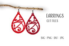 Teardrop Earrings Svg, Florish Earrings Svg Product Image 1
