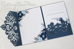 Lace wedding invitation svg, Tri fold envelope template Product Image 3