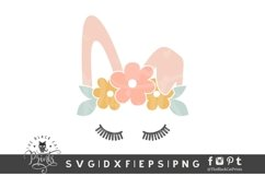 Easter Bunny Face SVG   Floral Crown Bunny   Bunny Ears SVG Product Image 1