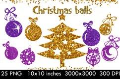 Christmas tree balls clipart,Gold christmas balls Product Image 1