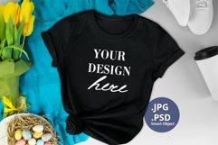 Black T-shirt Spring Mockup PSD Eggs & Clothes Background Product Image 1