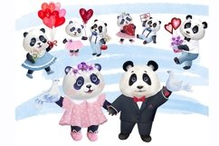 Valentines Day watercolor clipart, funny pandas Product Image 4