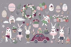 Happy Easter. Bunnies, eggs, flowers Product Image 5