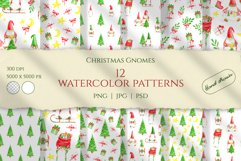 Christmas Gnomes Watercolor seamless patterns. Digital paper Product Image 1