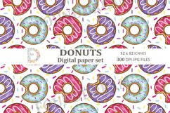 Donuts Digital Papers  12 x 12 inches 300DPI JPG files Product Image 8