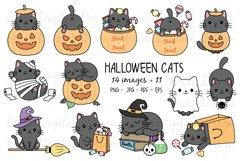 Halloween Cats Clipart set - 25 Cat images - Kawaii - Bundle Product Image 1