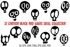 32 Black and White Cartoon Skulls Collection for Halloween Product Image 1