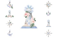 Nautical Floral Watercolor Clipart, Transparent PNG, Summer Product Image 3